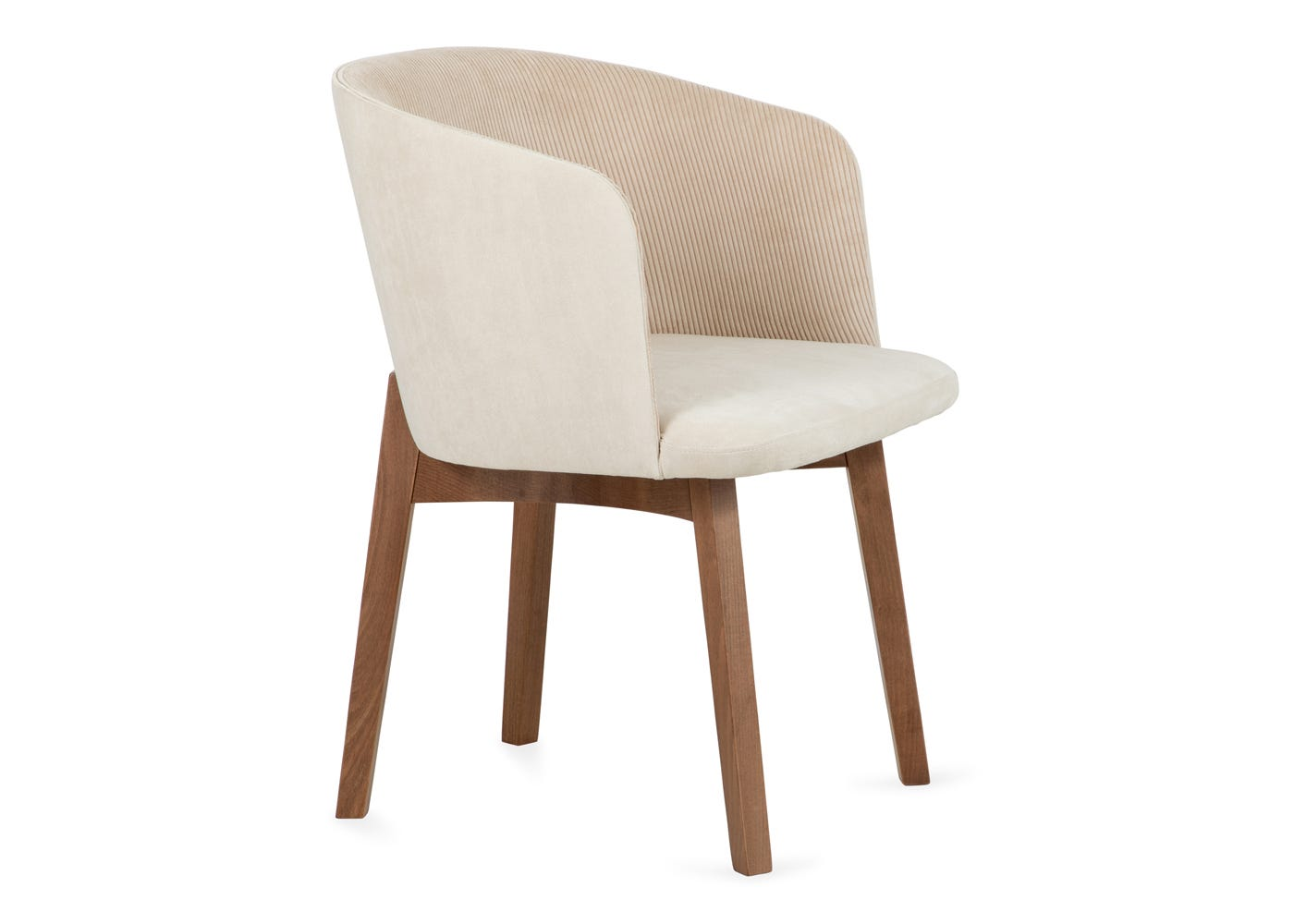 Edit chair cord cream walnut stain leg - Side profile.