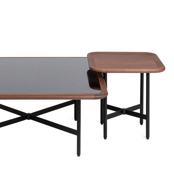 This coffee table has been designed to stack neatly with the Emerson side table.