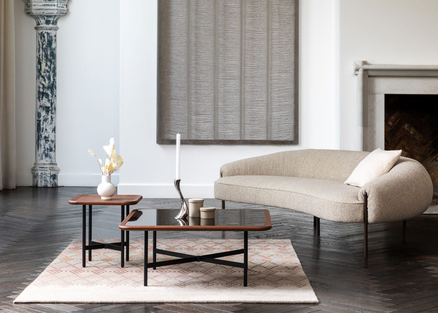 As shown: Emerson square side & coffee table, Isola sofa.