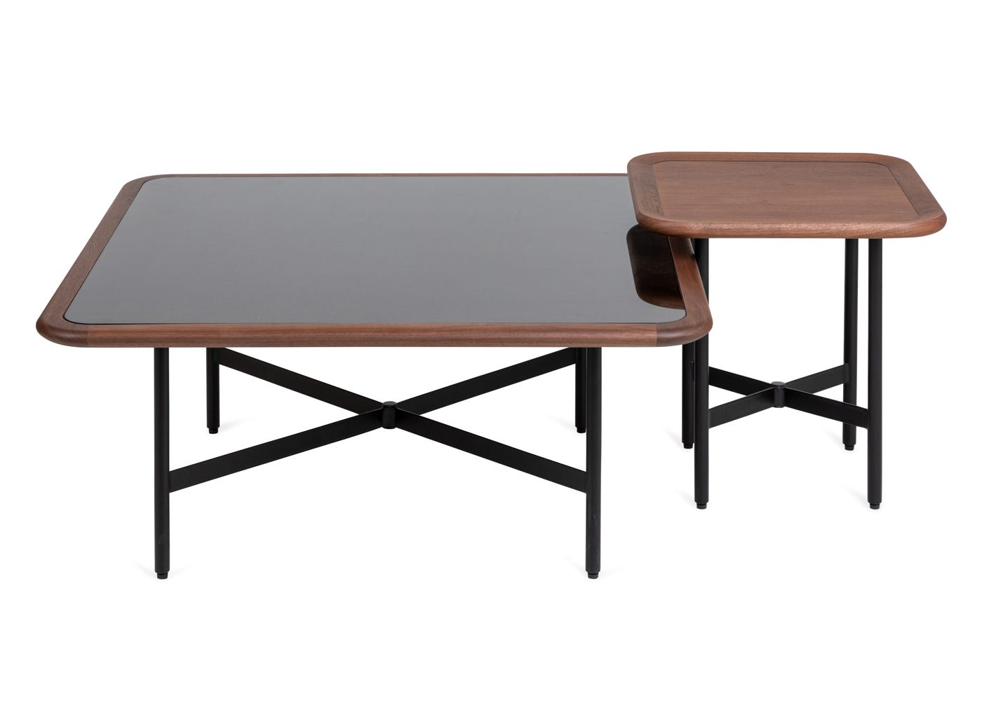 As shown: Emerson square coffee table stacked with Emerson side table.