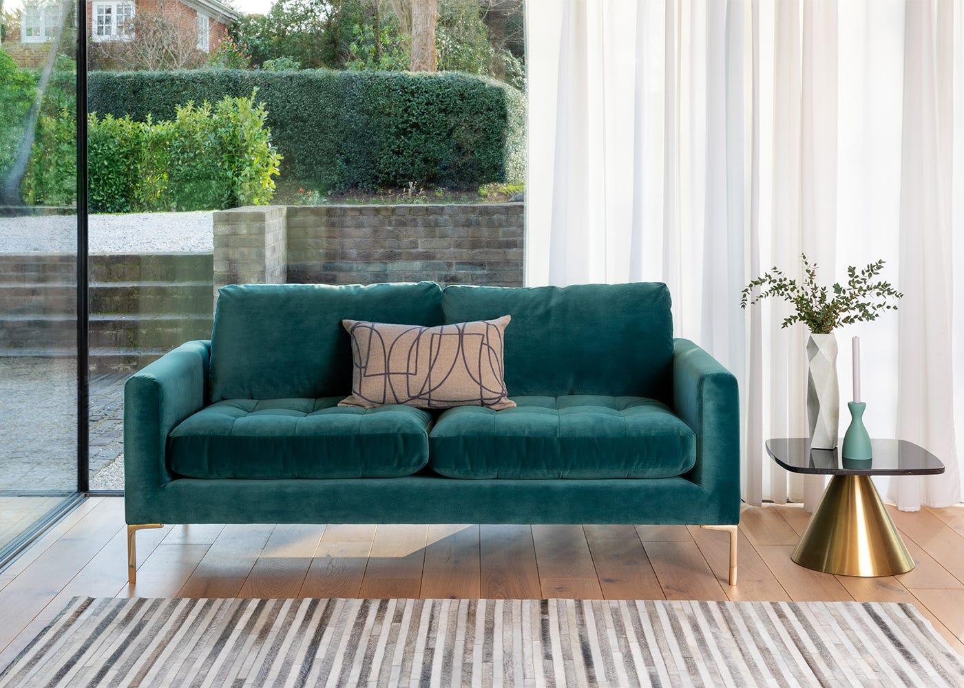 Eton 3 Seater Sofa in Velvet Ocean with Brass Legs