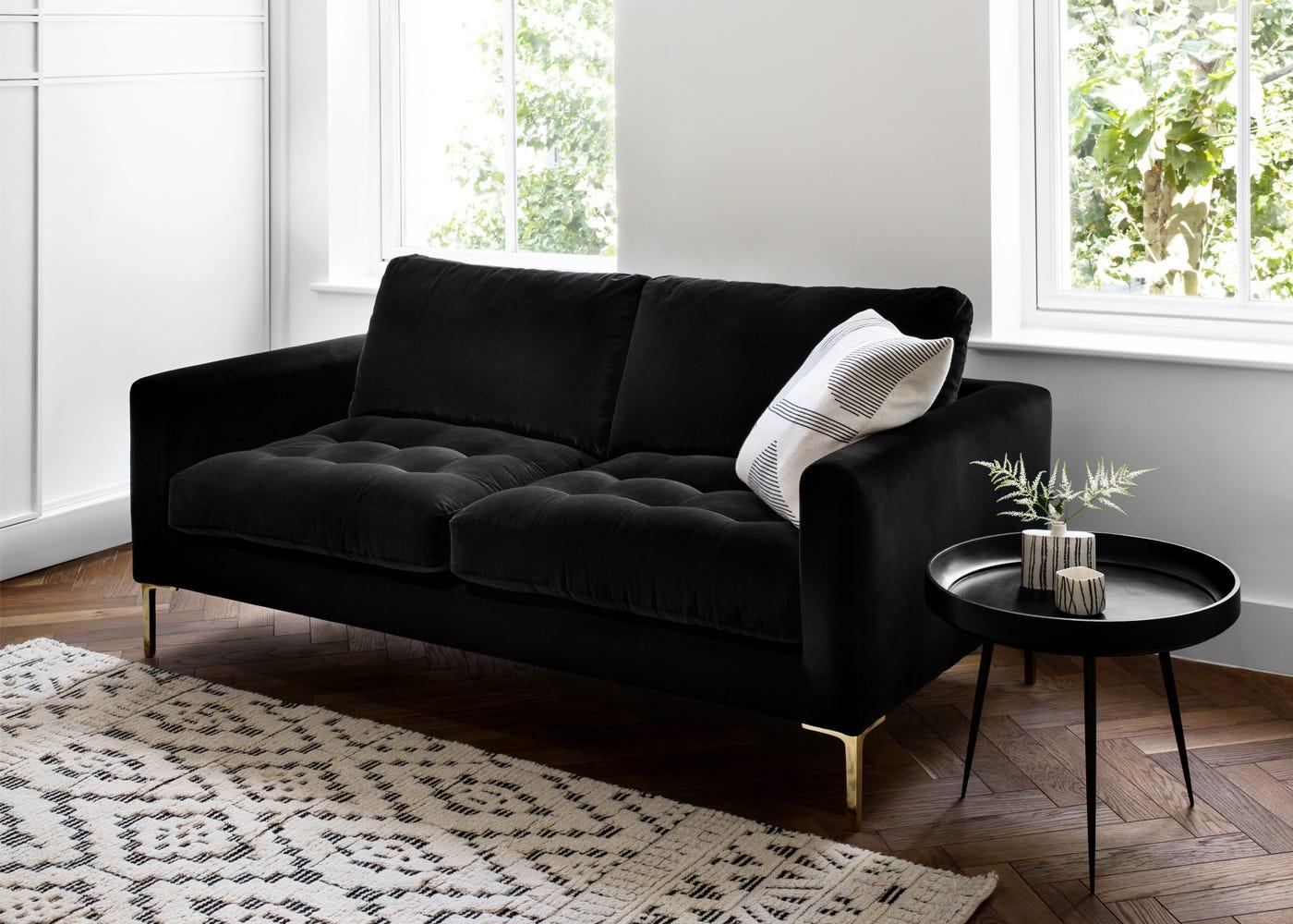 Eton 3 Seater Sofa in Velvet Black with Brass Legs