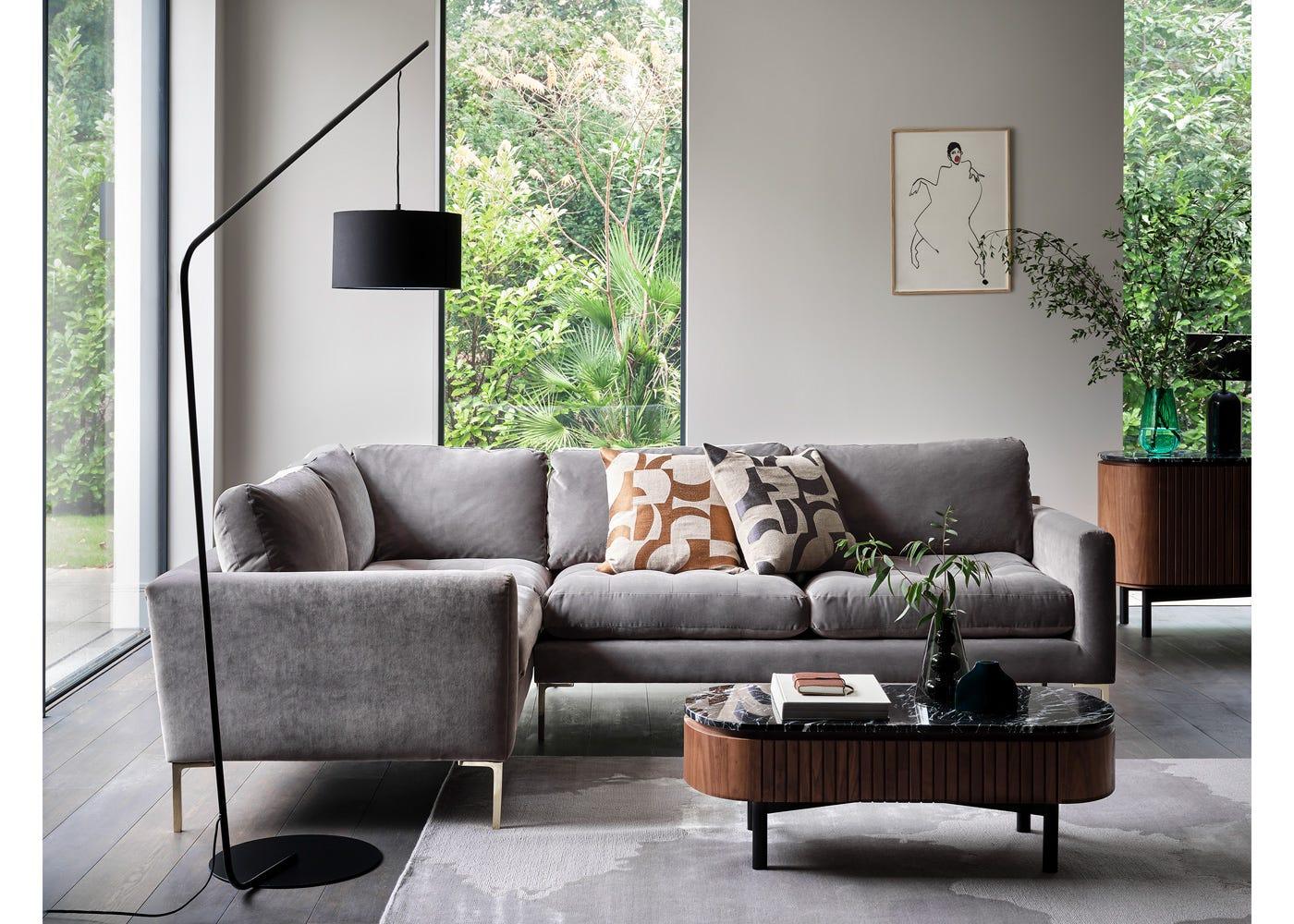 Eton Left Hand Facing Corner Sofa in Smart Luxe Velvet Mushroom