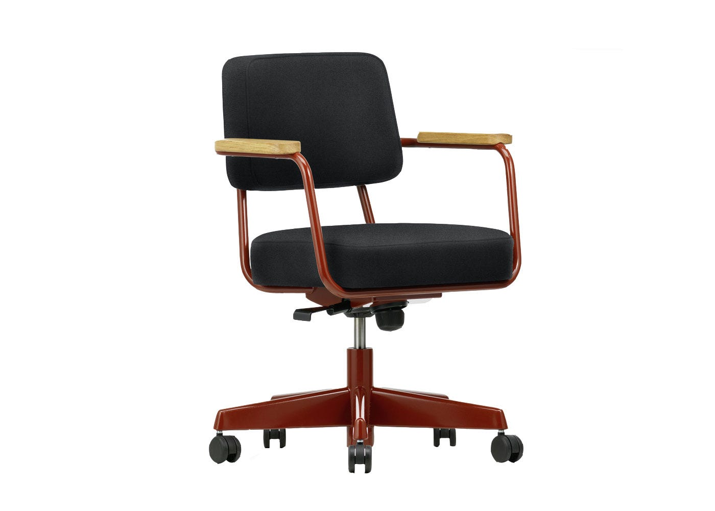 As Shown: Fauteuil Direction Pivotant Office Chair in Twill Dark Grey Angled Profile