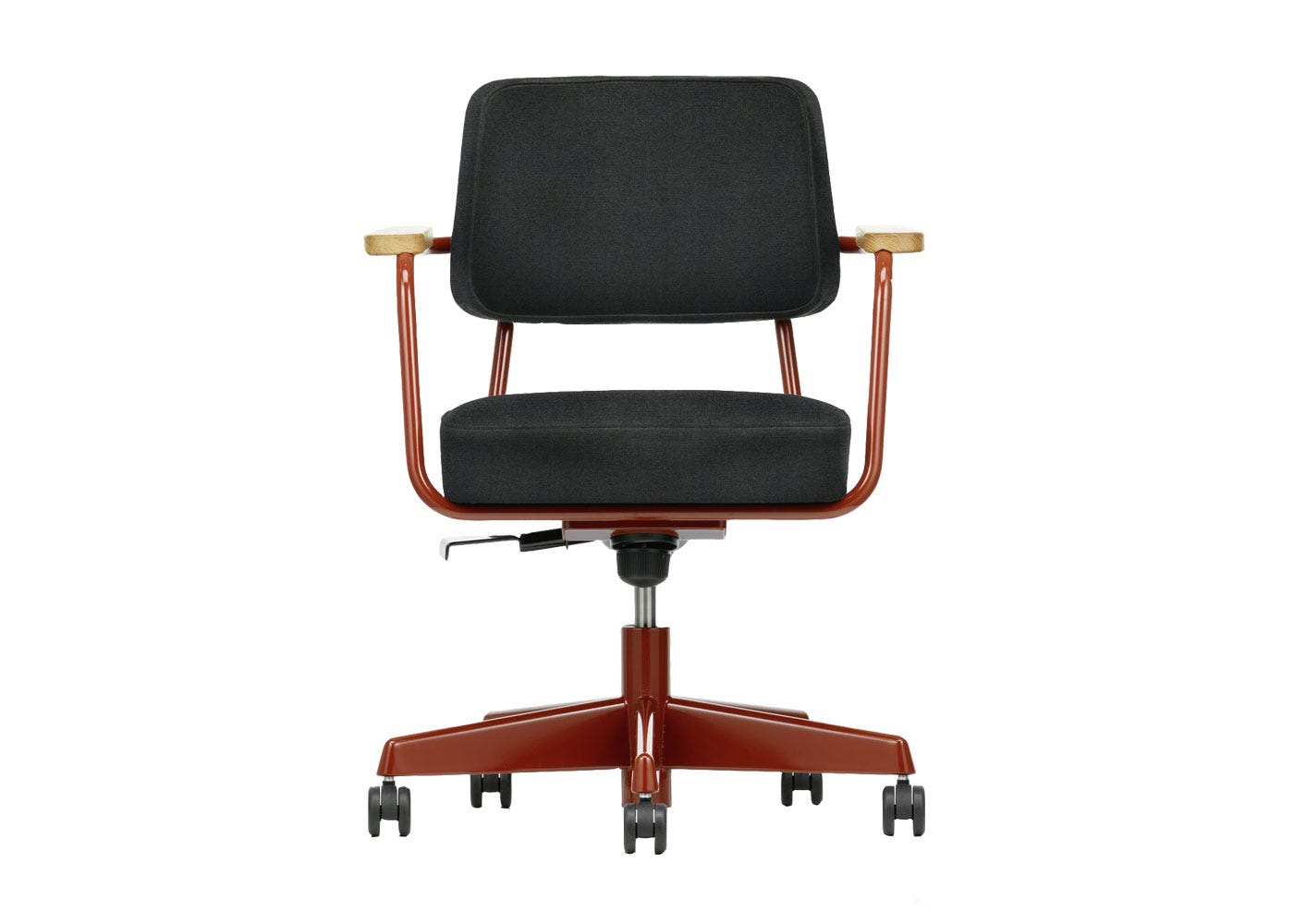 As Shown: Fauteuil Direction Pivotant Office Chair in Twill Dark Grey Front Profile