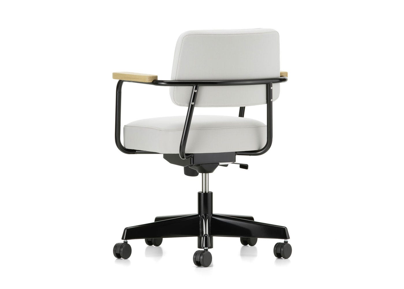As Shown: Fauteuil Direction Pivotant Office Chair in Twill Pearl Back Angled Profile