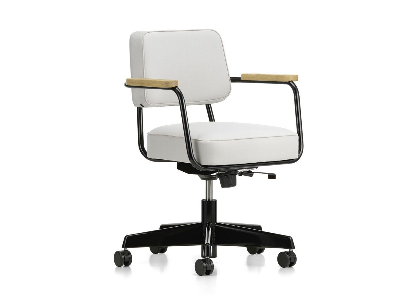 As Shown: Fauteuil Direction Pivotant Office Chair in Twill Pearl Front Angled Profile