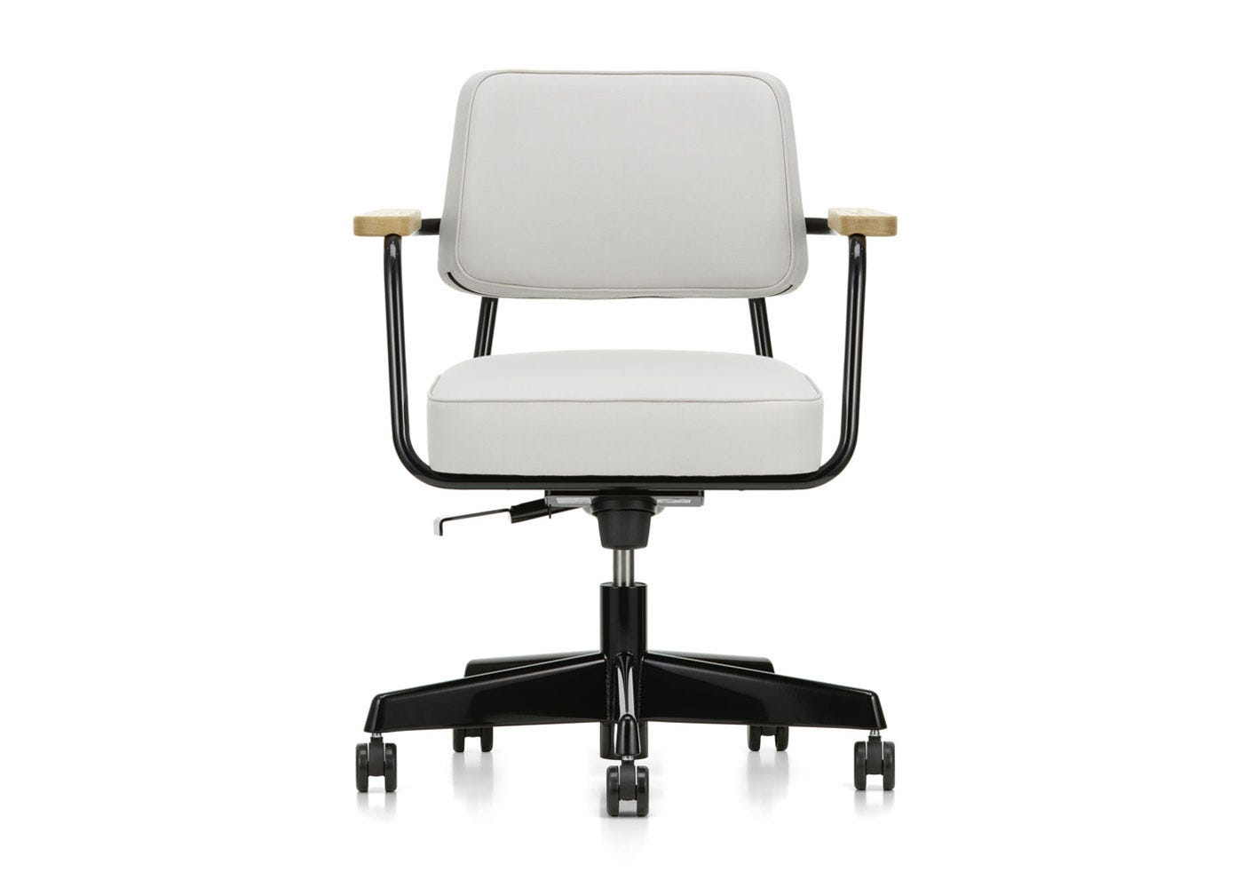 As Shown: Fauteuil Direction Pivotant Office Chair in Twill Pearl Front Profile