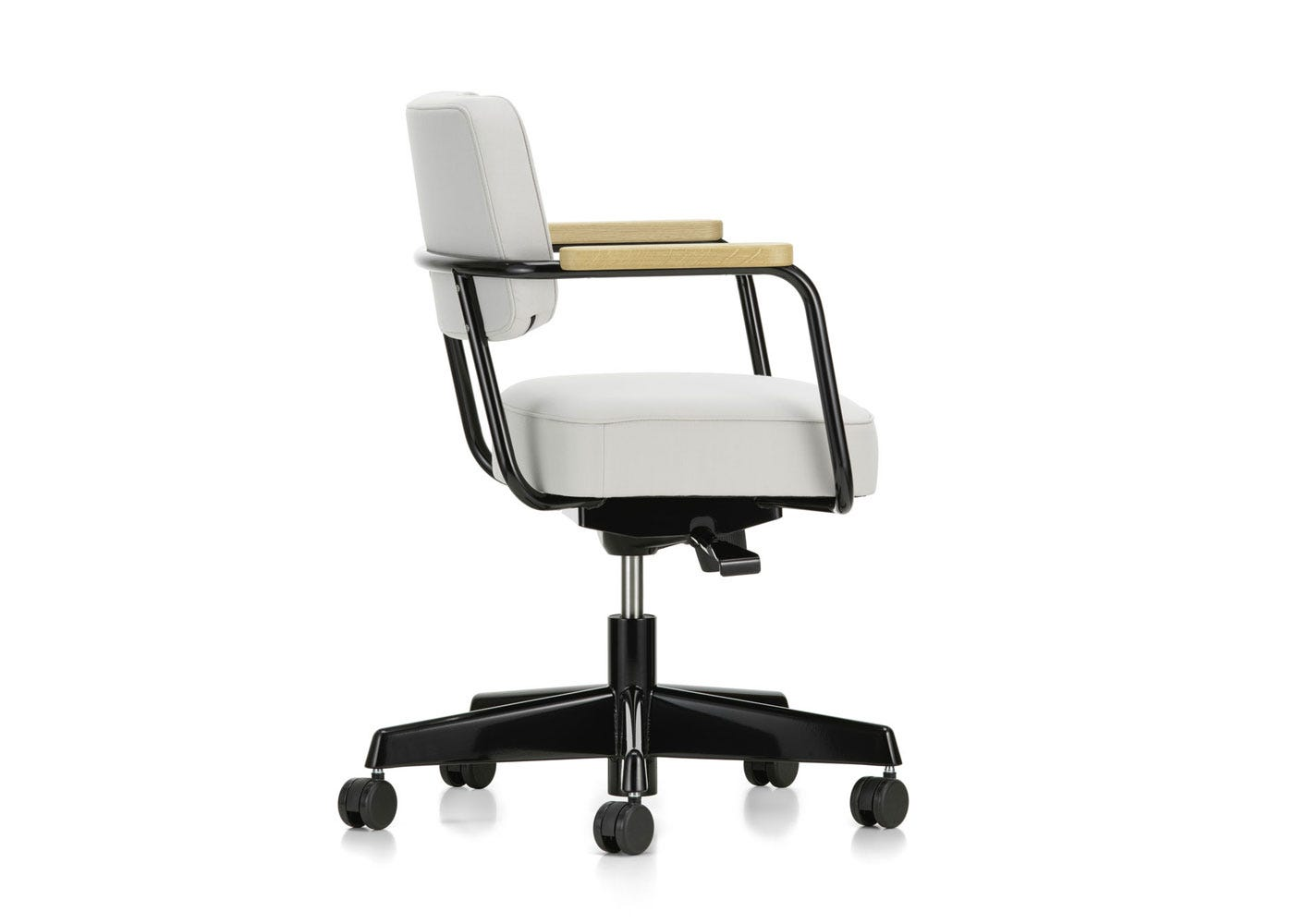 As Shown: Fauteuil Direction Pivotant Office Chair in Twill Pearl Side Profile