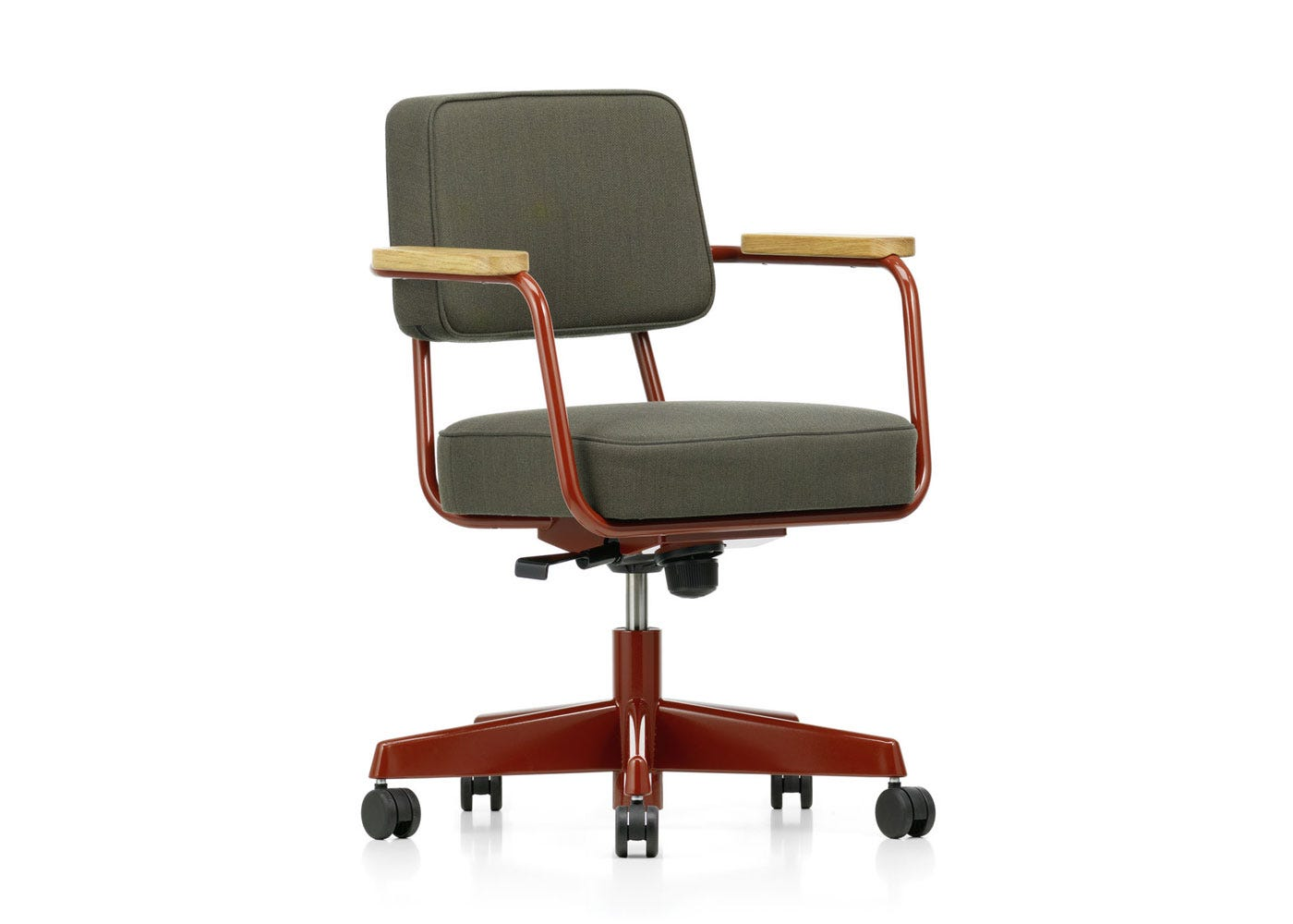 As Shown: Fauteuil Direction Pivotant Office Chair in Volo Dark Grey Angled Profile