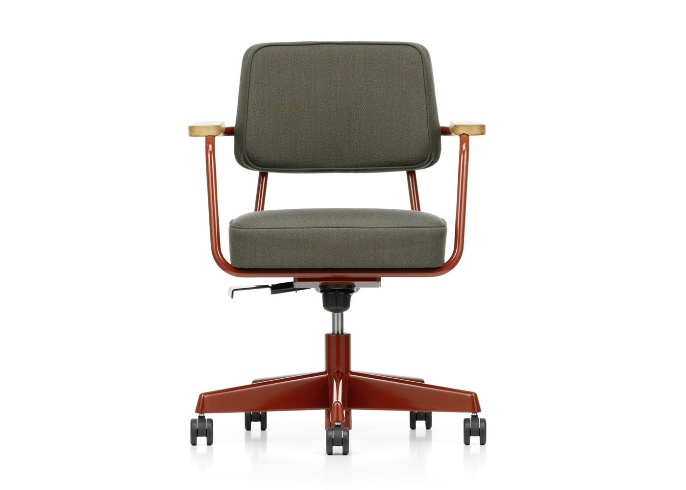 As Shown: Fauteuil Direction Pivotant Office Chair in Volo Dark Grey Front Profile