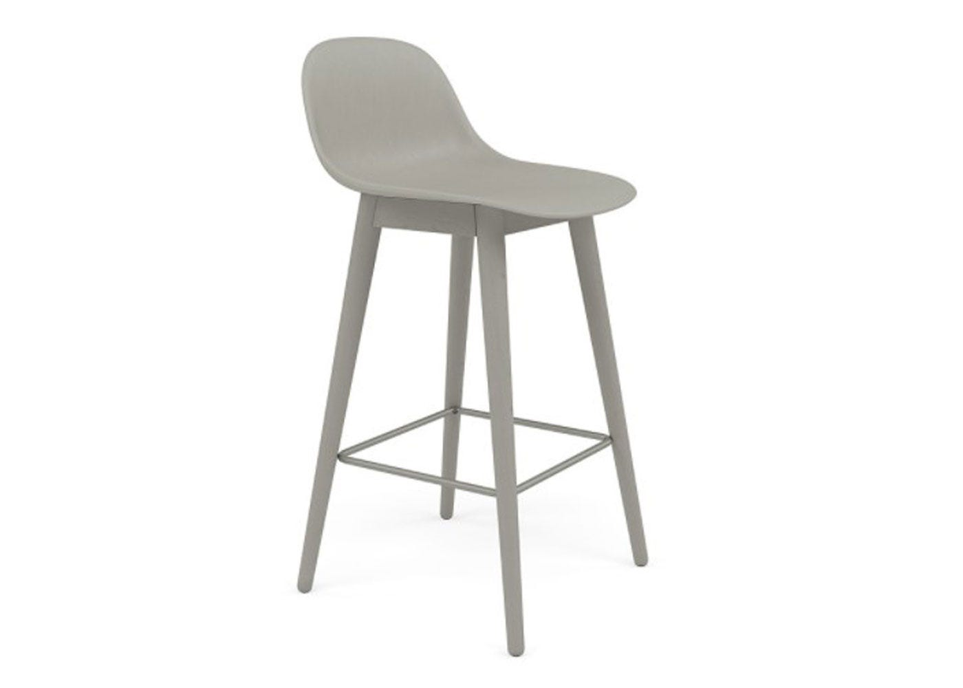 Fiber Counter Stool With Backrest Wooden Base Grey