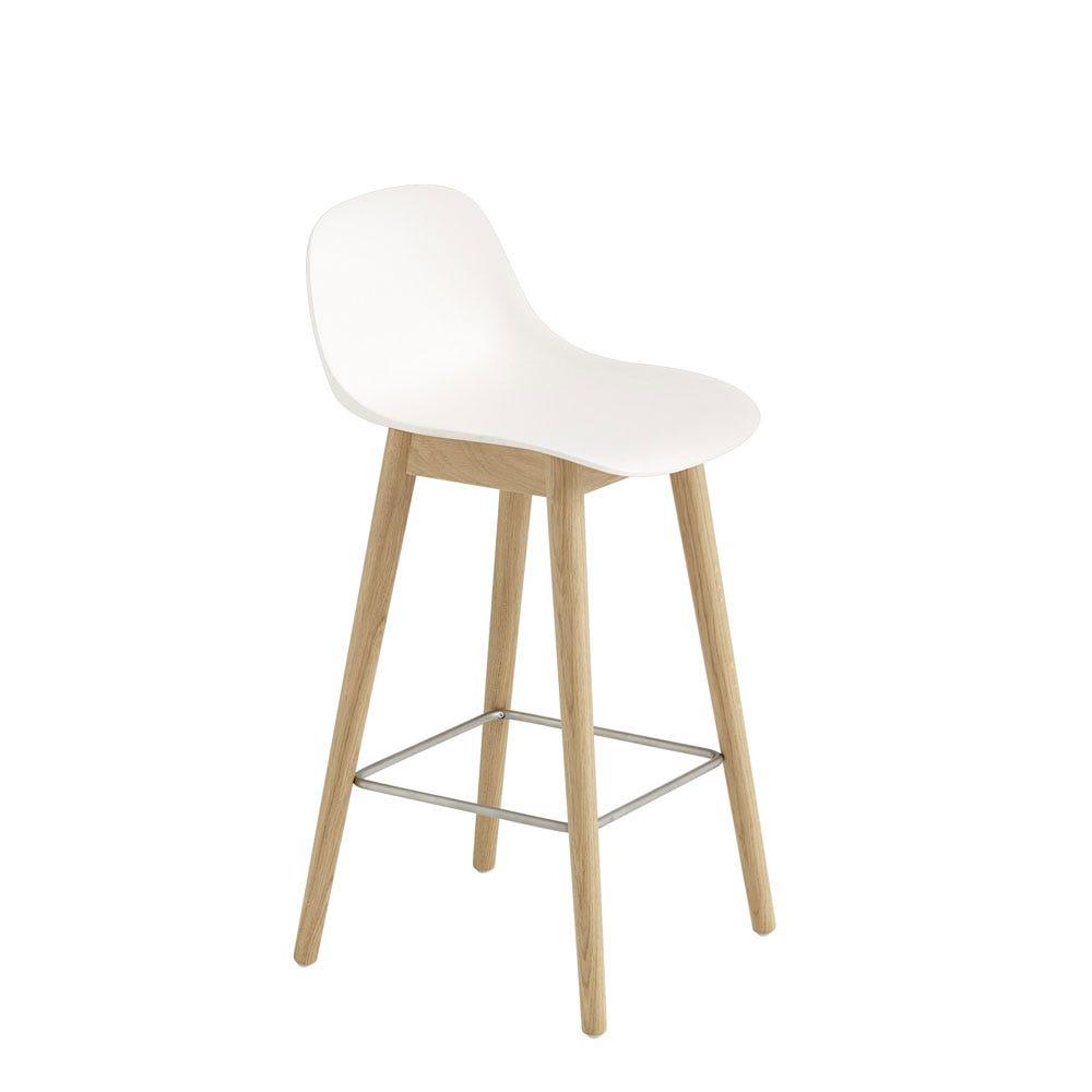 Fiber Counter Stool With Backrest Wooden Base