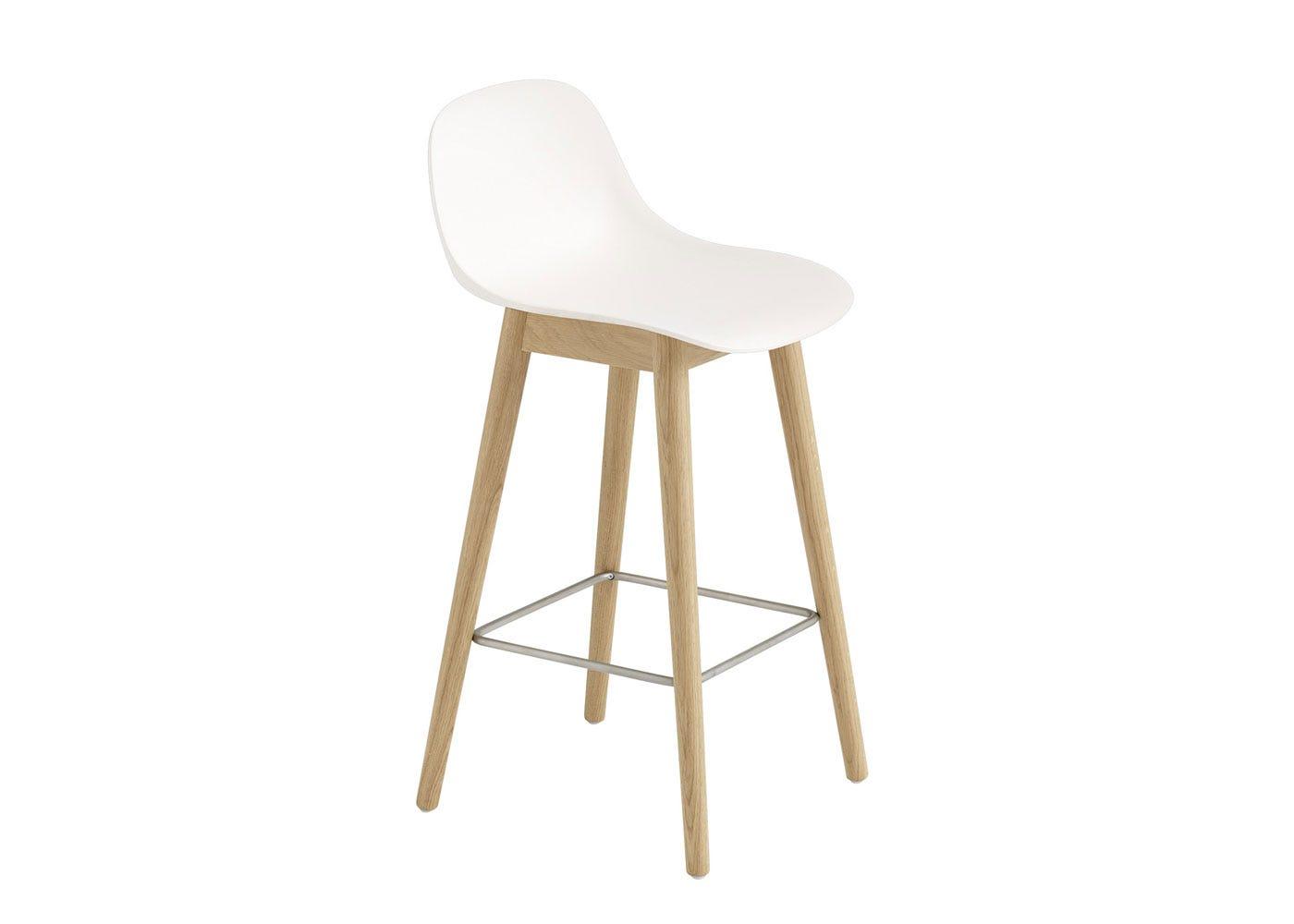 Fiber Counter Stool With Backrest Wooden Base Oak & White