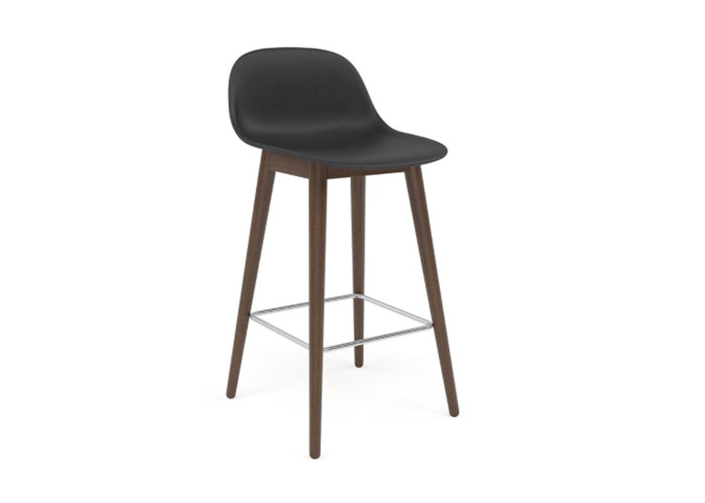 Fiber Counter Stool With Backrest Wooden Base Stained Dark Brown