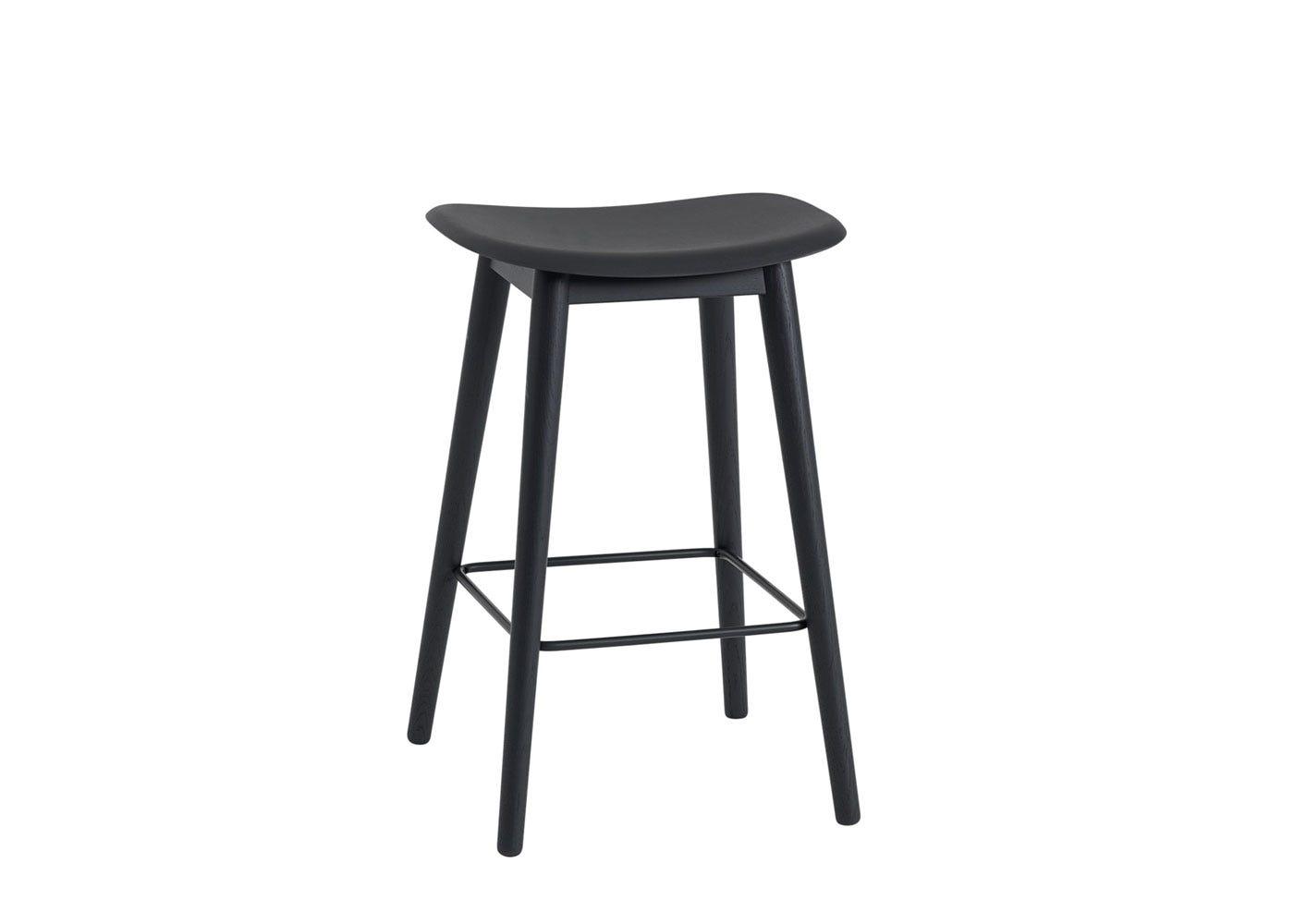 Fiber Counter Stool Without Backrest Wooden Base Black