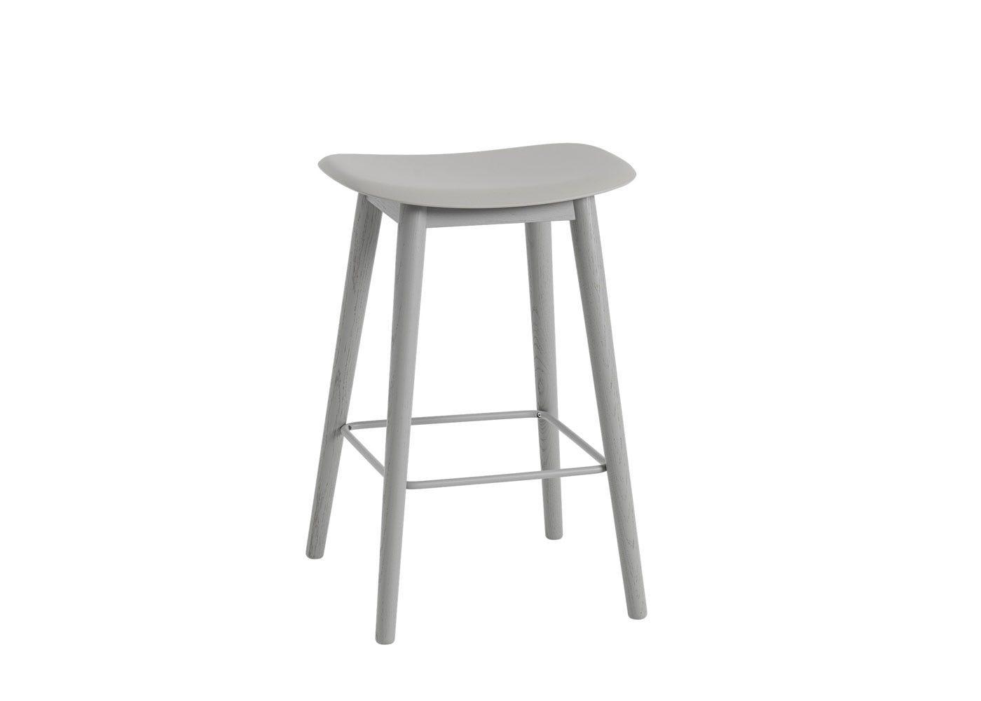 Fiber Counter Stool Without Backrest Wooden Base Grey