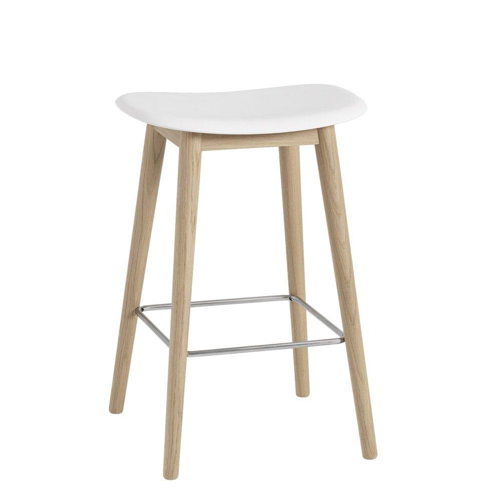 Fiber Counter Stool Without Backrest Wooden Base