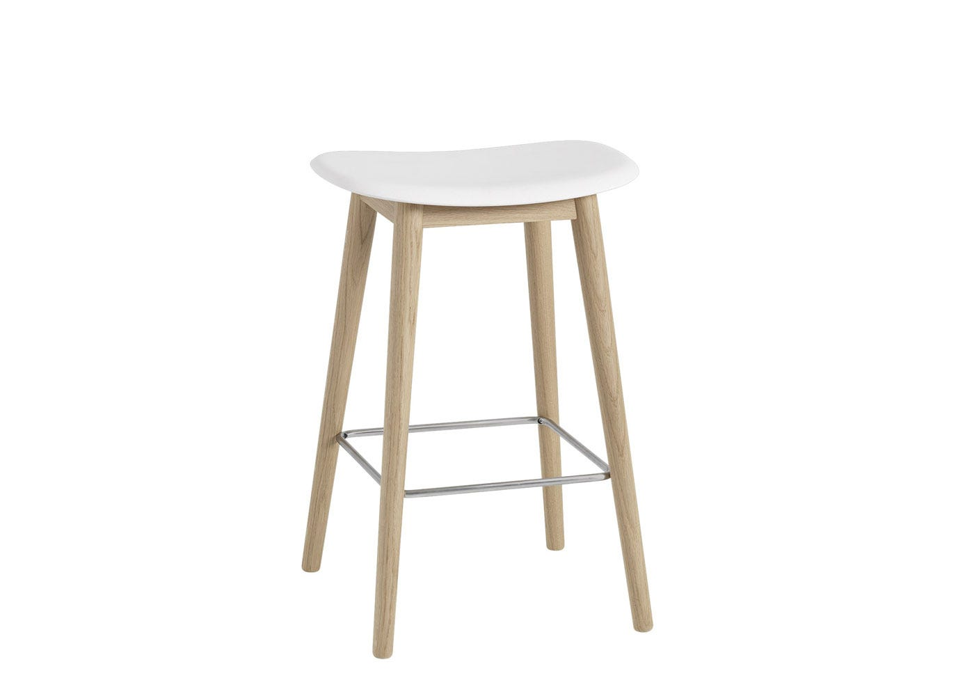 Fiber Counter Stool Without Backrest Wooden Base White & Oak
