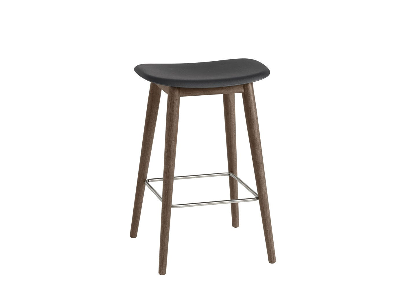 Fiber Counter Stool Without Backrest Wooden Base Stained Dark Brown