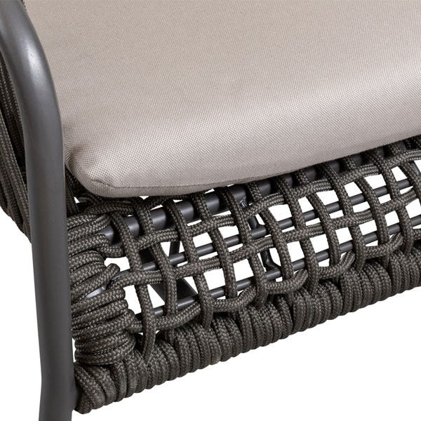 Comfortable foam-filled cushions are upholstered in weatherproof Sunbrella fabric.