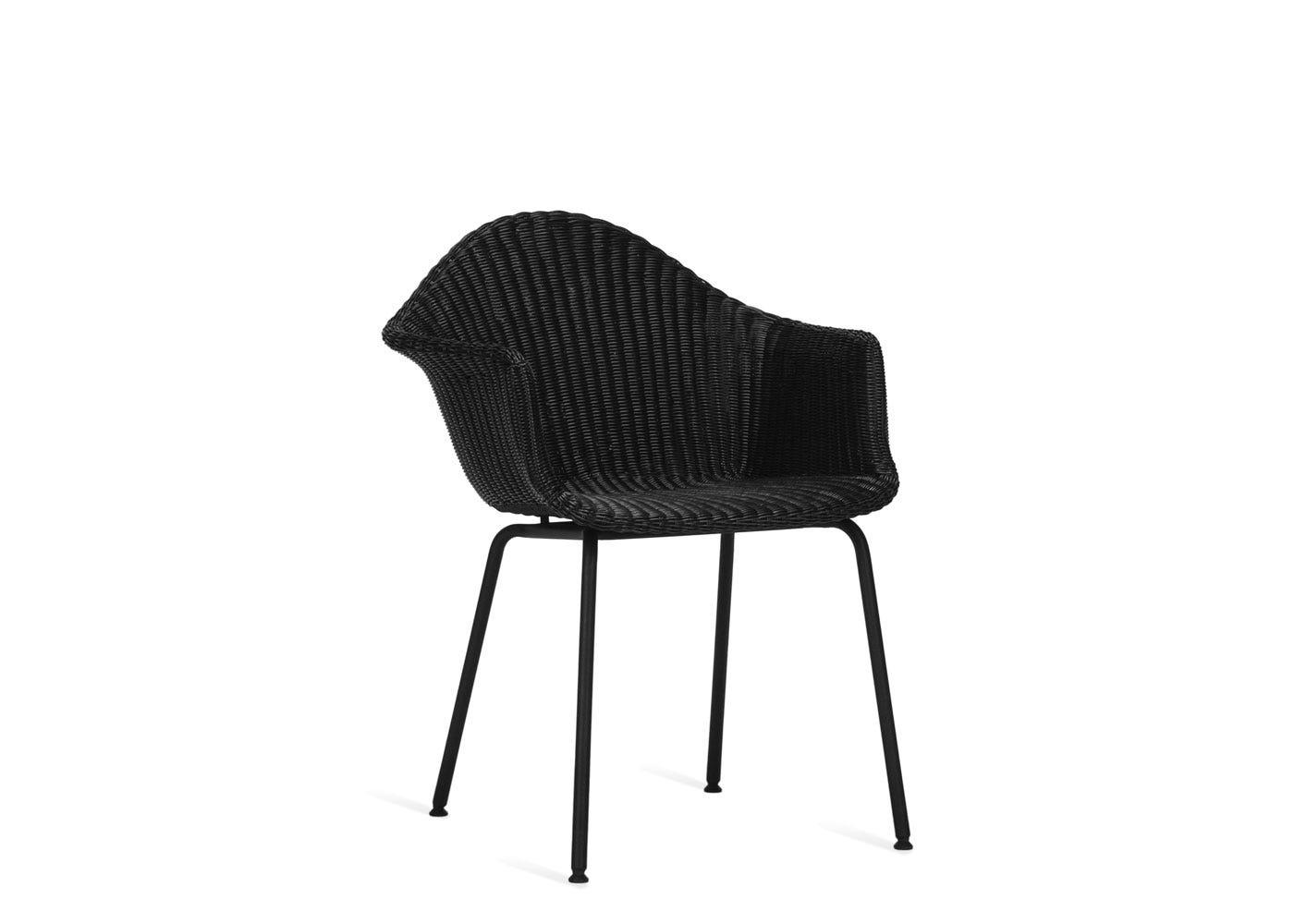 As shown: Finn dining chair in black.