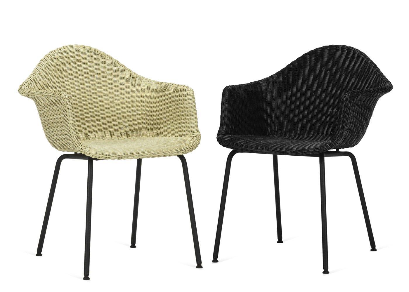 As shown: Finn dining chair in cream & black.