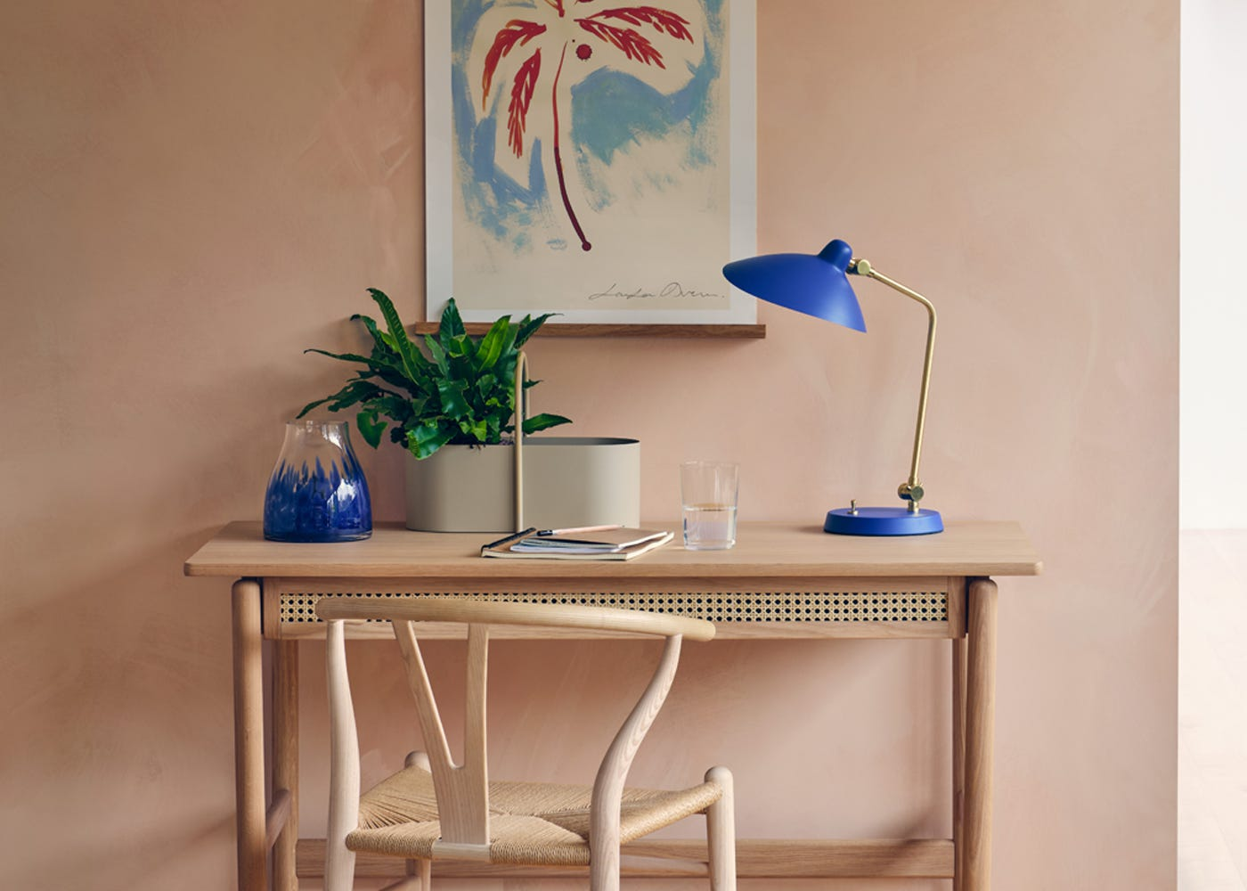 Dapple Vase in blue with Flette Desk and Milton Table Lamp