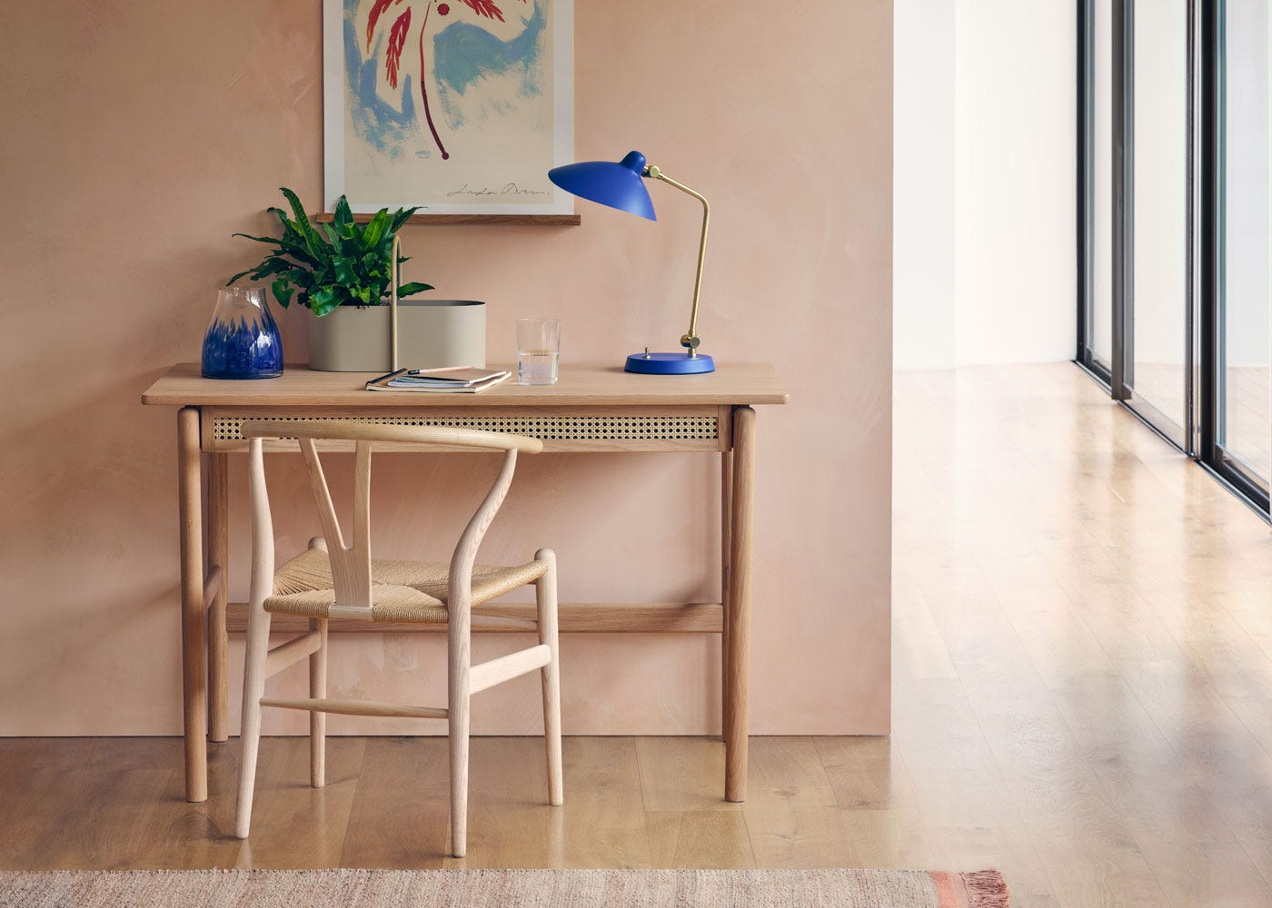 As shown: Flete desk paired with CH24 Wishbone chair, Milton desk lamp in blue.