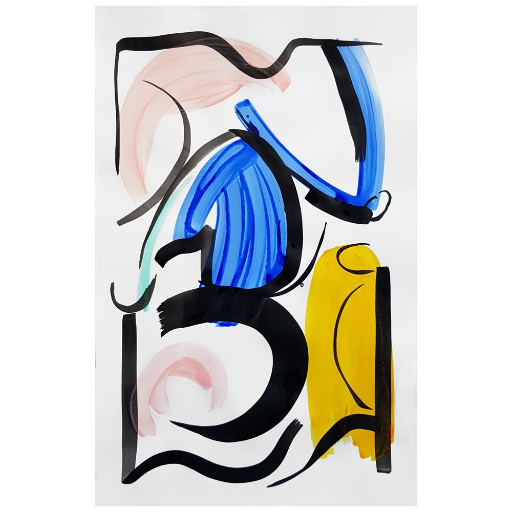 Yellow and Blue Woman Original Painting by Simone Brewster