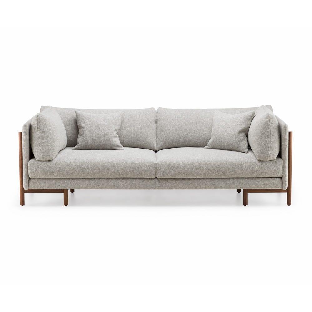 Frame 4 Seater Sofa Medium Sahco Moss Grey Fabric Danish Oiled Walnut Legs