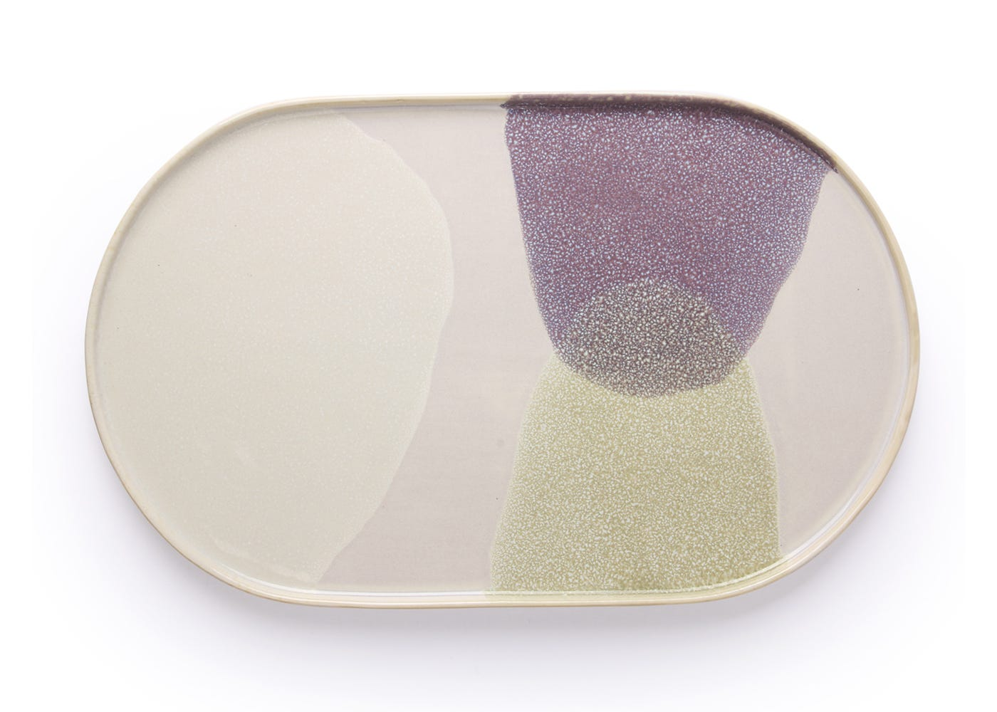 Oval Dinner Plate in Green/Lilac