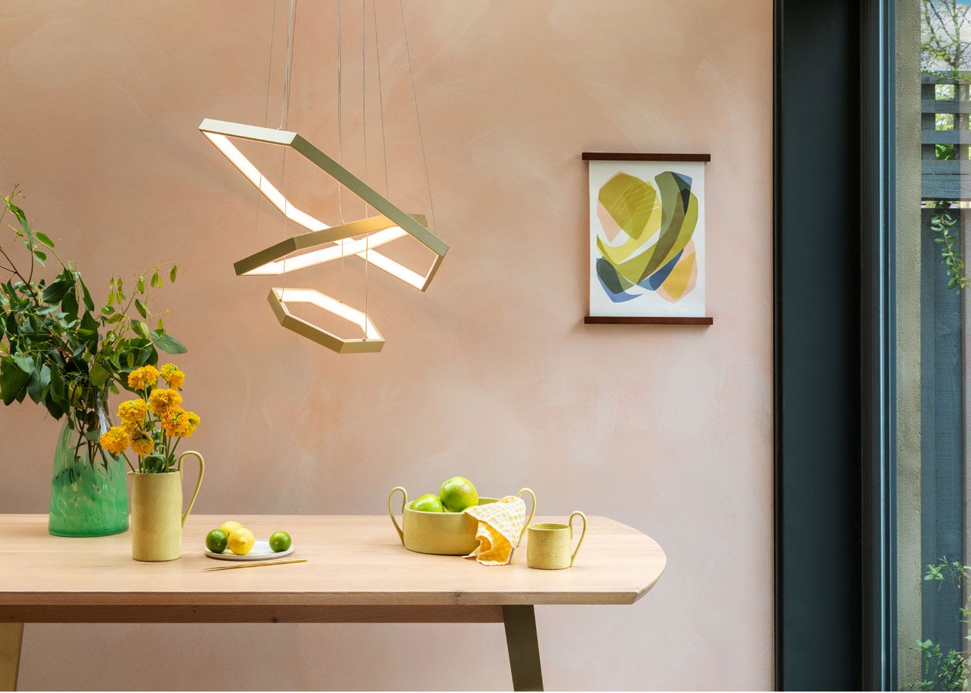 As shown: Geo LED pendant satin gold, Crawford dining table.