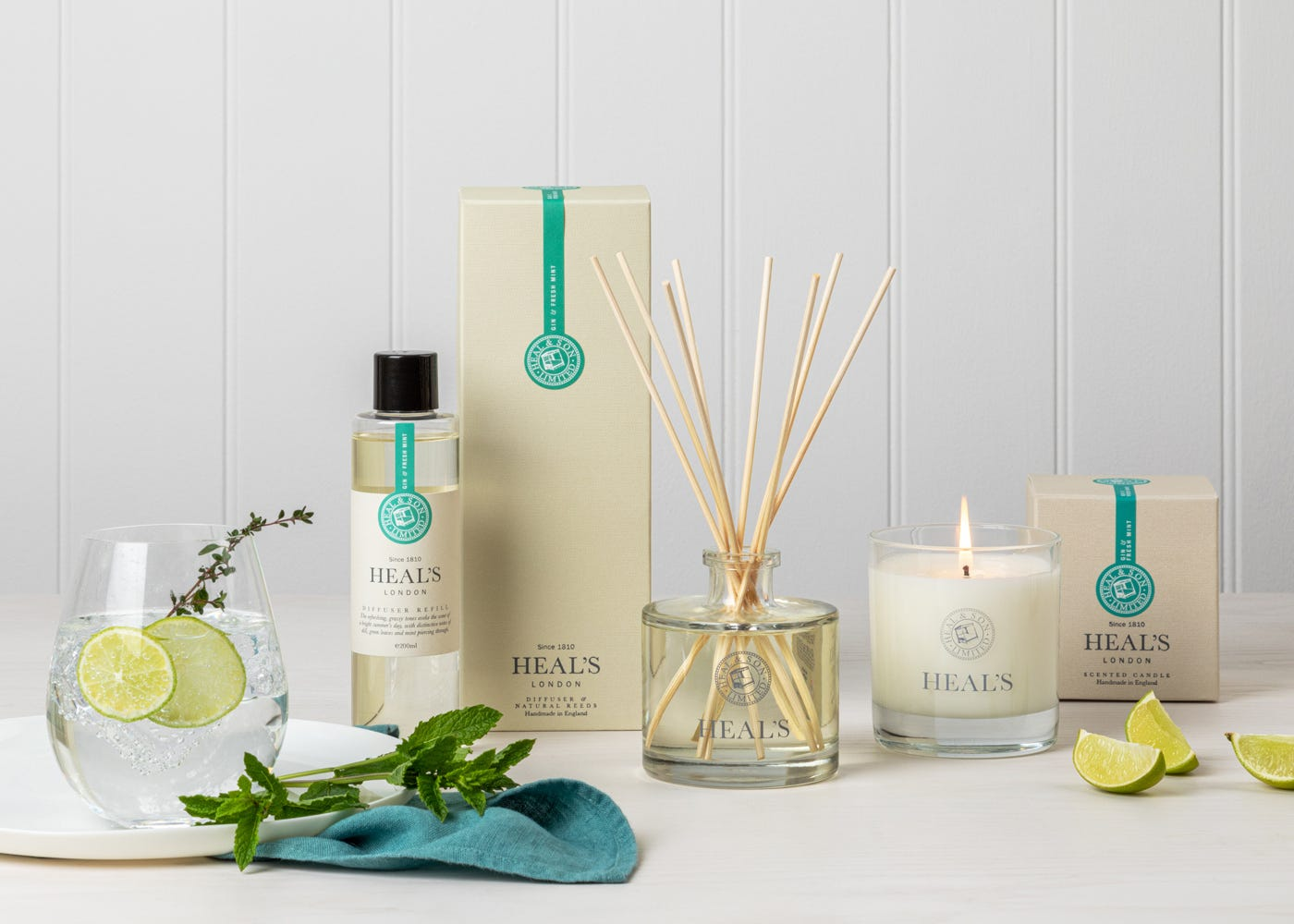 Gin and fresh mint fragrance collection