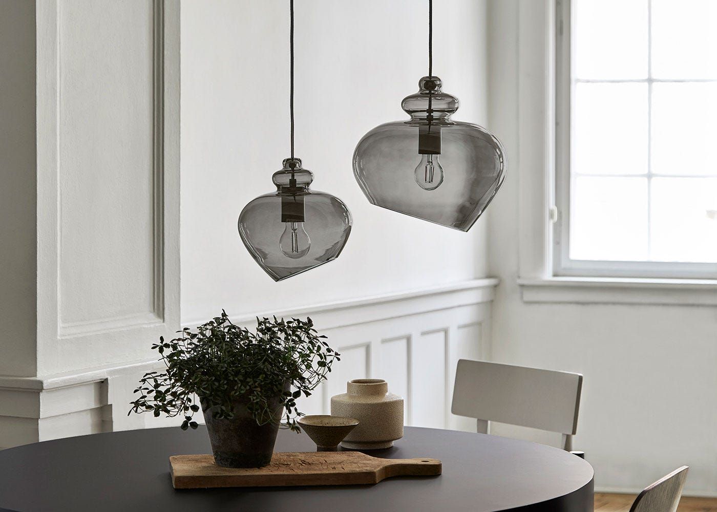 As shown: Grace small and large pendant in smoke.
