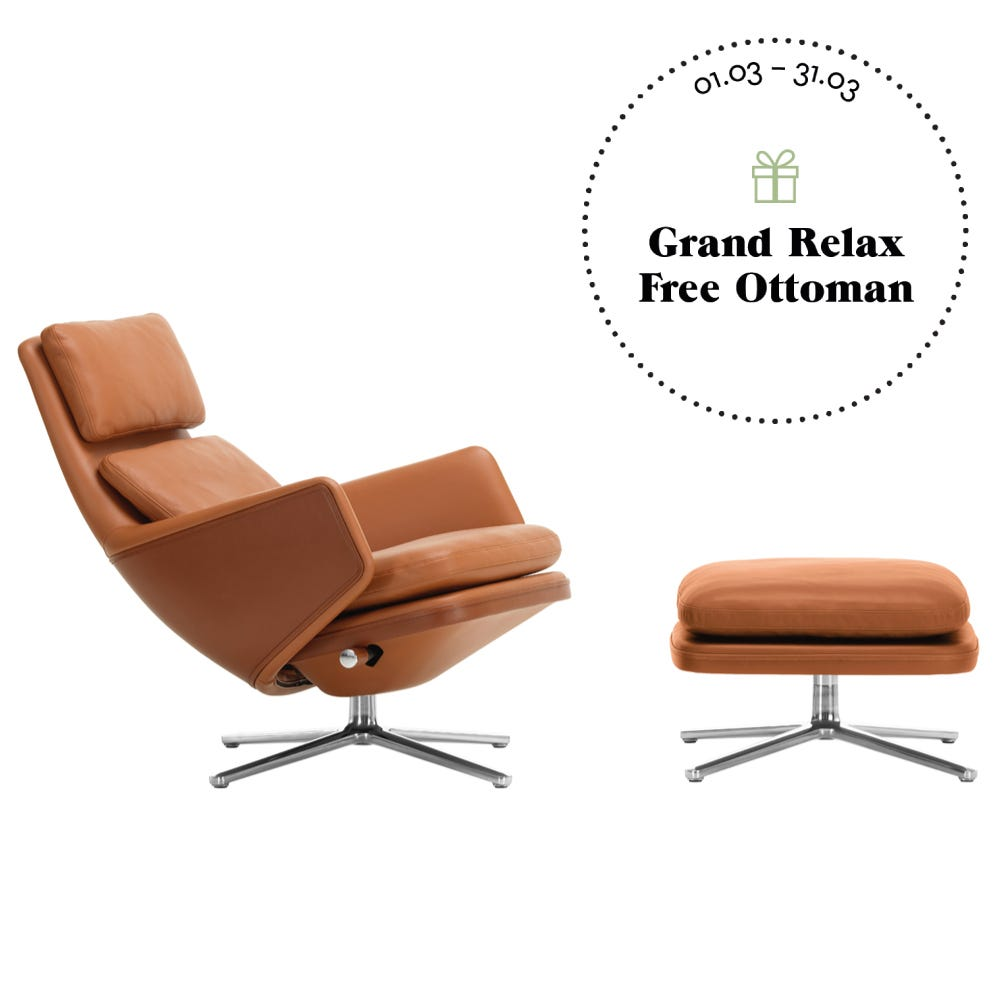 Grand Relax Chair & Ottoman Cognac Leather Polished Base Felt Glides