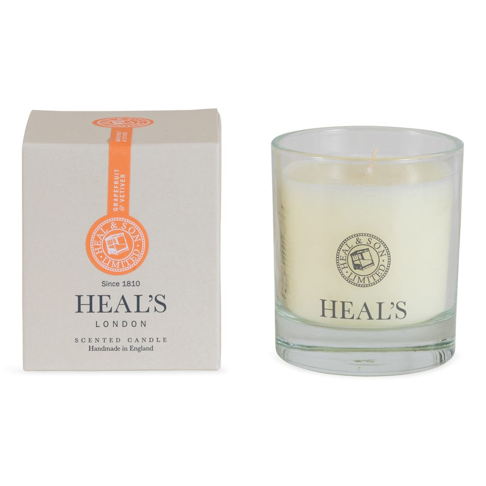 Grapefruit and Vetivert Scented Glass Candle