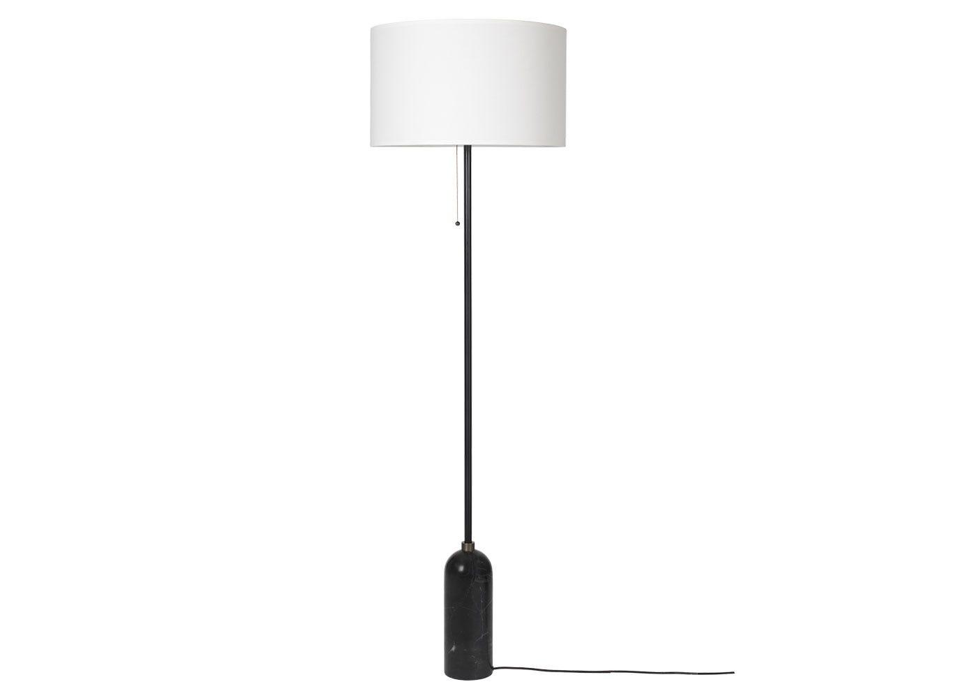 Gravity Floor Lamp Black Marble Base White Shade - Off
