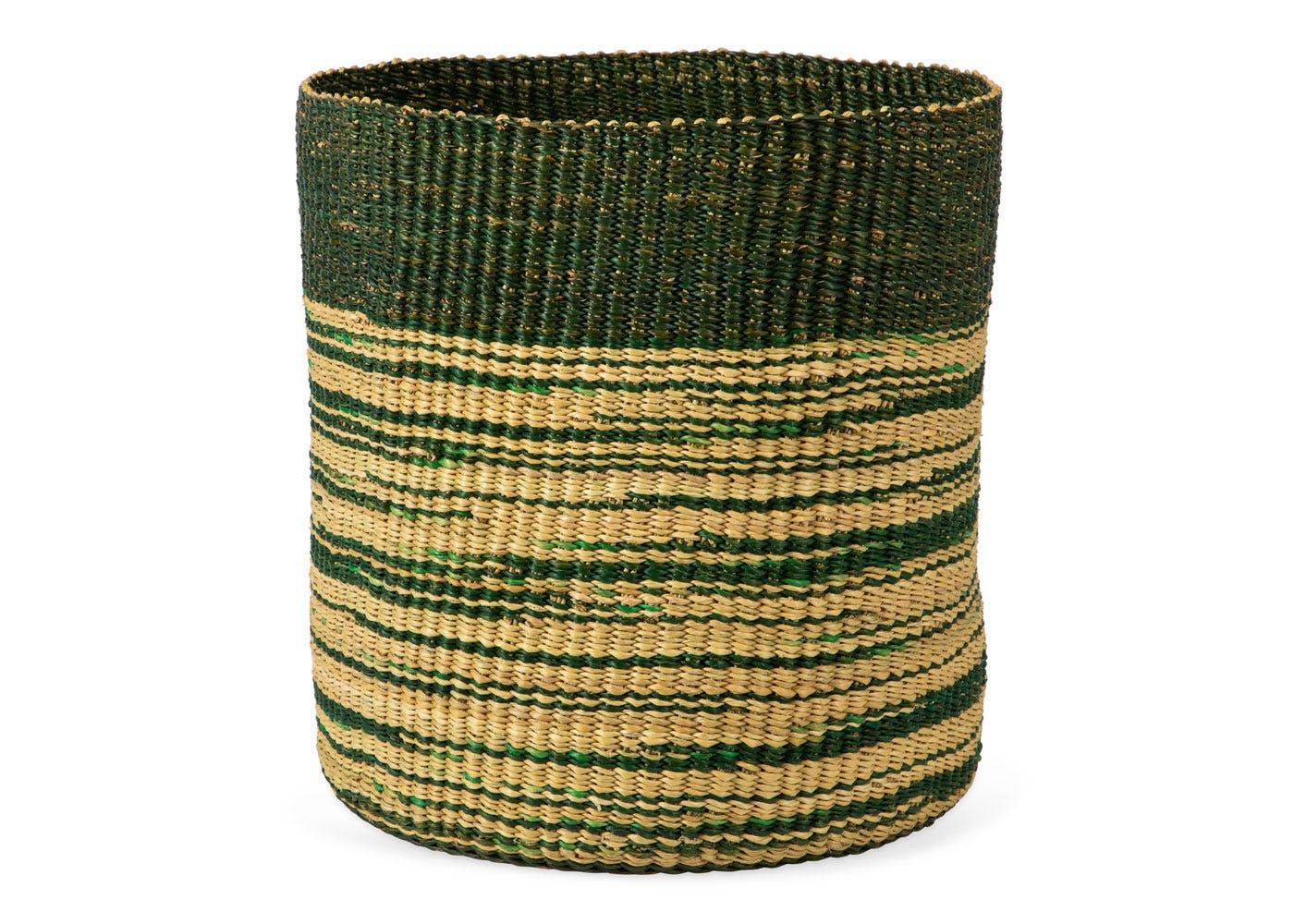 As Shown: Handwoven Storage Basket in Green