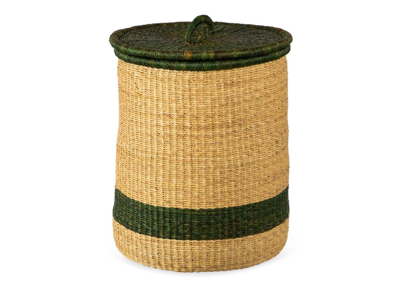As Shown: Handwoven Laundry Basket in Green Stripe