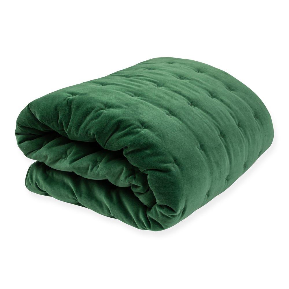 Velvet Quilt Emerald Green 240 x 260cm