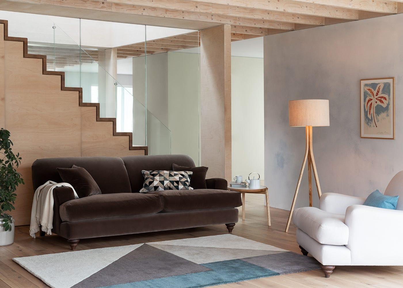Hampstead 4 Seater Sofa in Velvet Mink with Hampstead Armchair (just seen) in Capelo Linen-Cotton Snowdrop