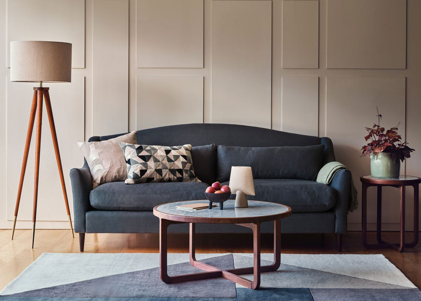 Hawkins floor lamp with shade, Somerset sofa, Anais coffee and side tables.