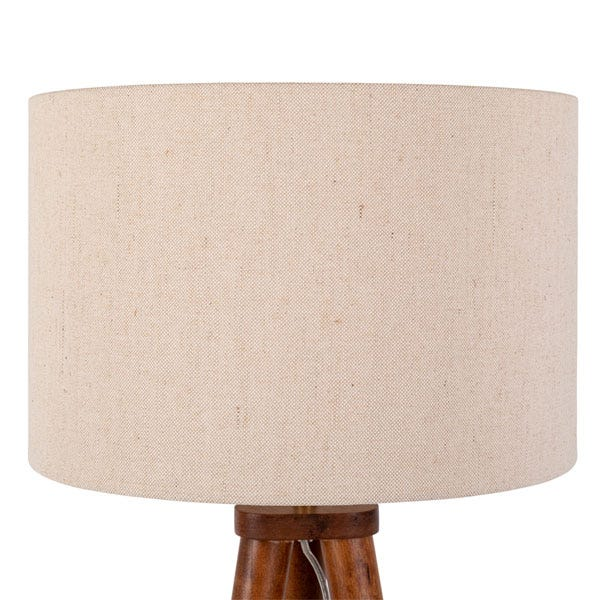Linen fabric shade diffuses a soft light.