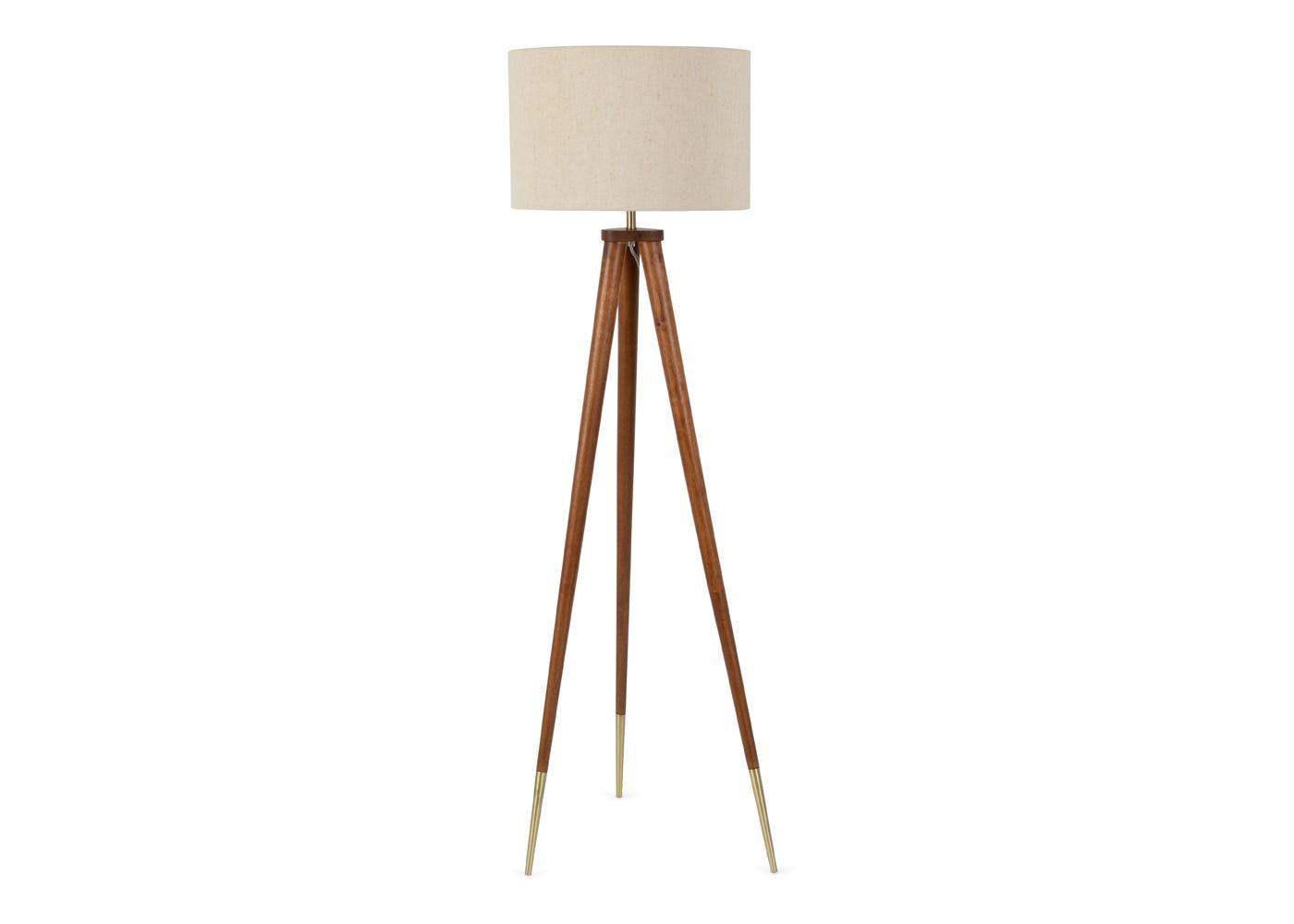 Hawkins solid walnut tripod floor lamp with shade.