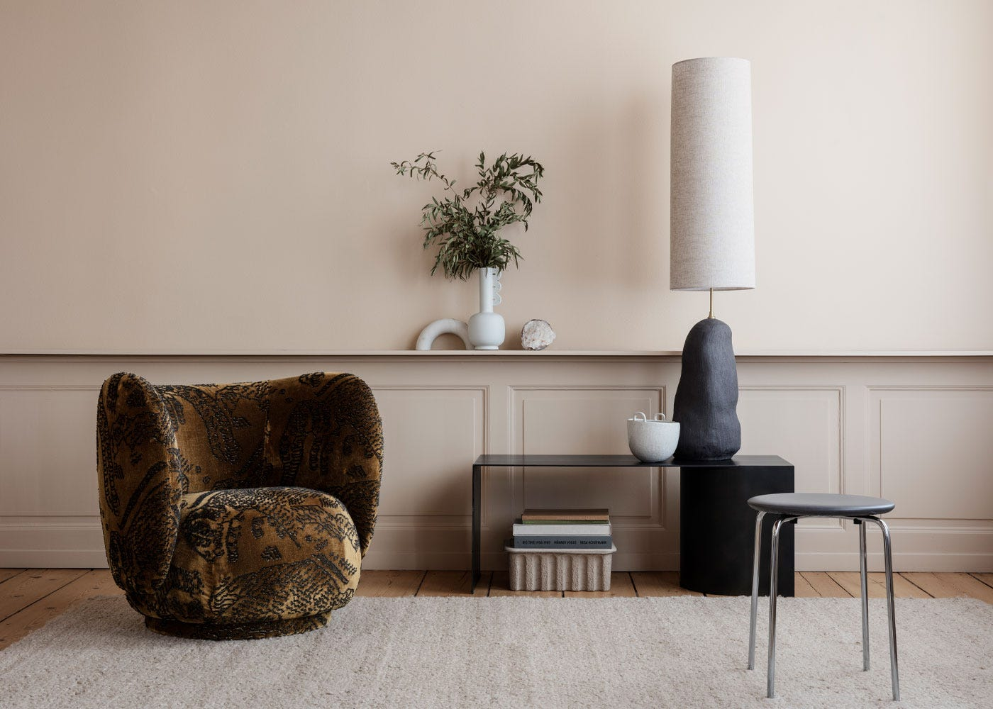 As Shown: Hebe Black Floor Lamp Base Paired With Long Natural Shade