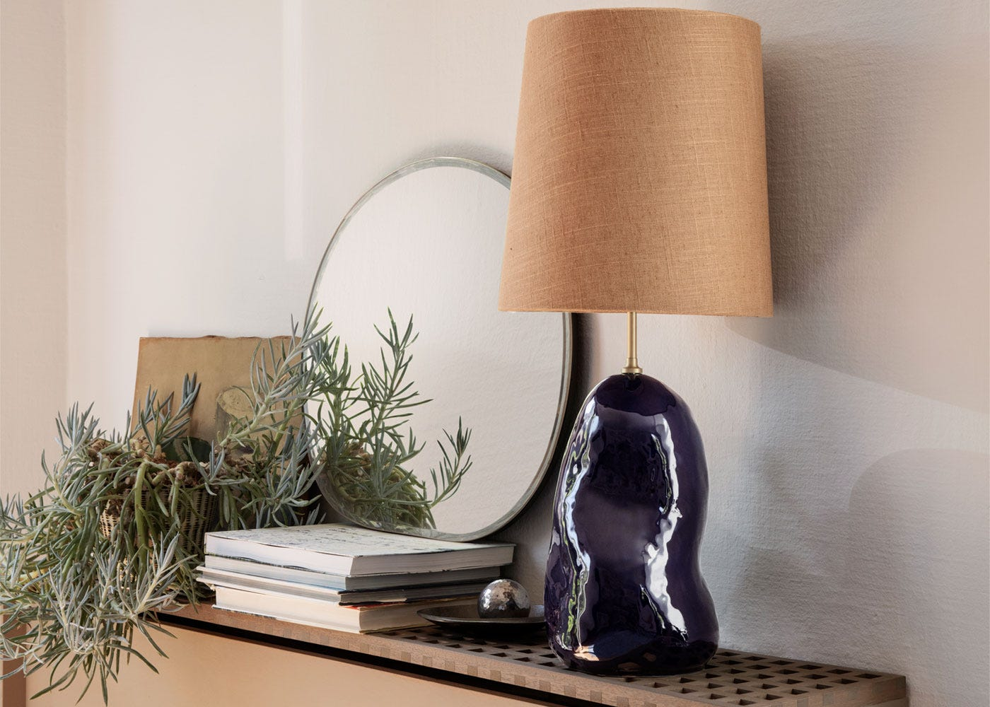 As Shown: Hebe Medium Deep Blue Table Lamp Base Paired With Medium Curry Shade