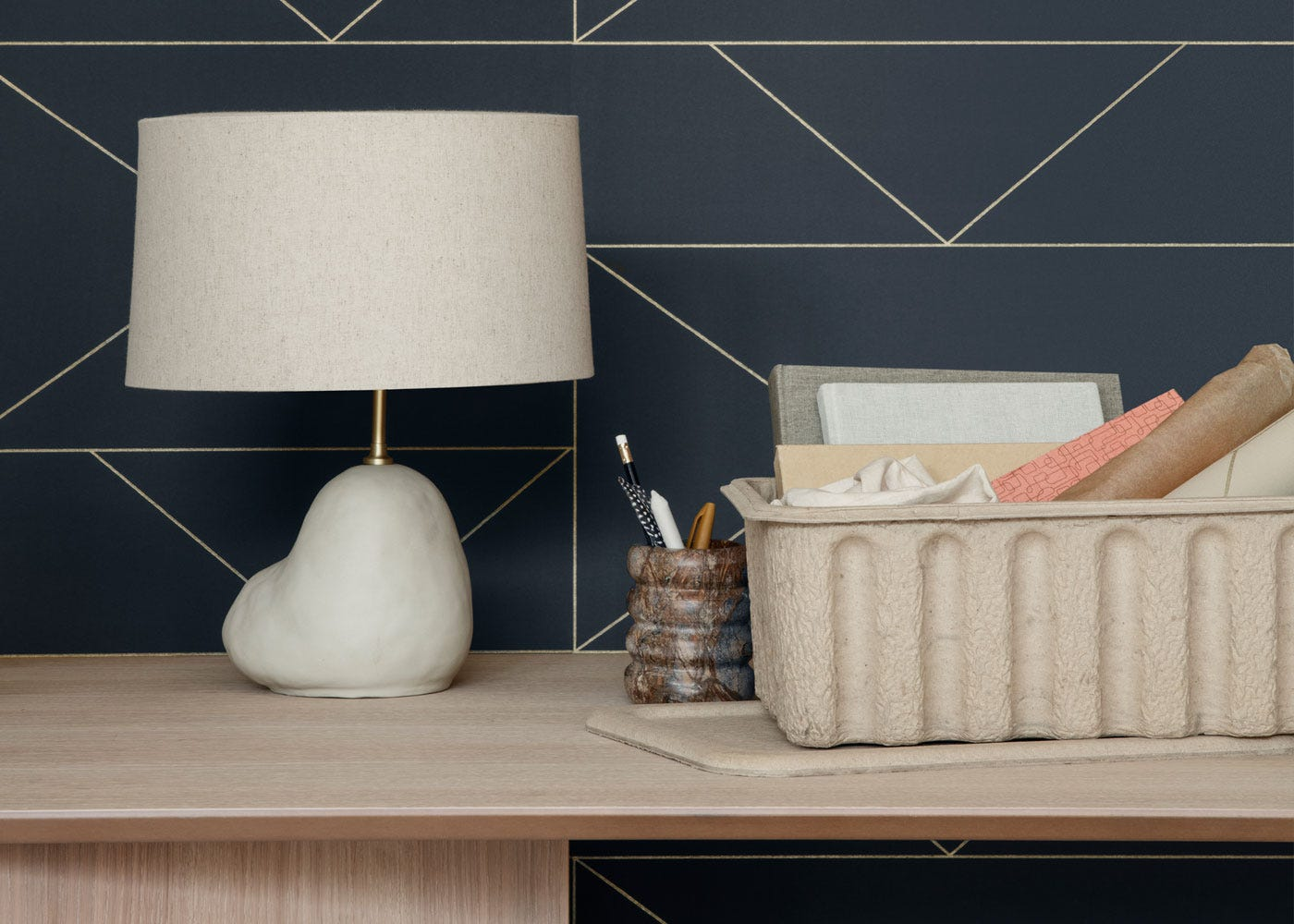 As Shown: Hebe Small White Table Base Paired with Short Natural Shade