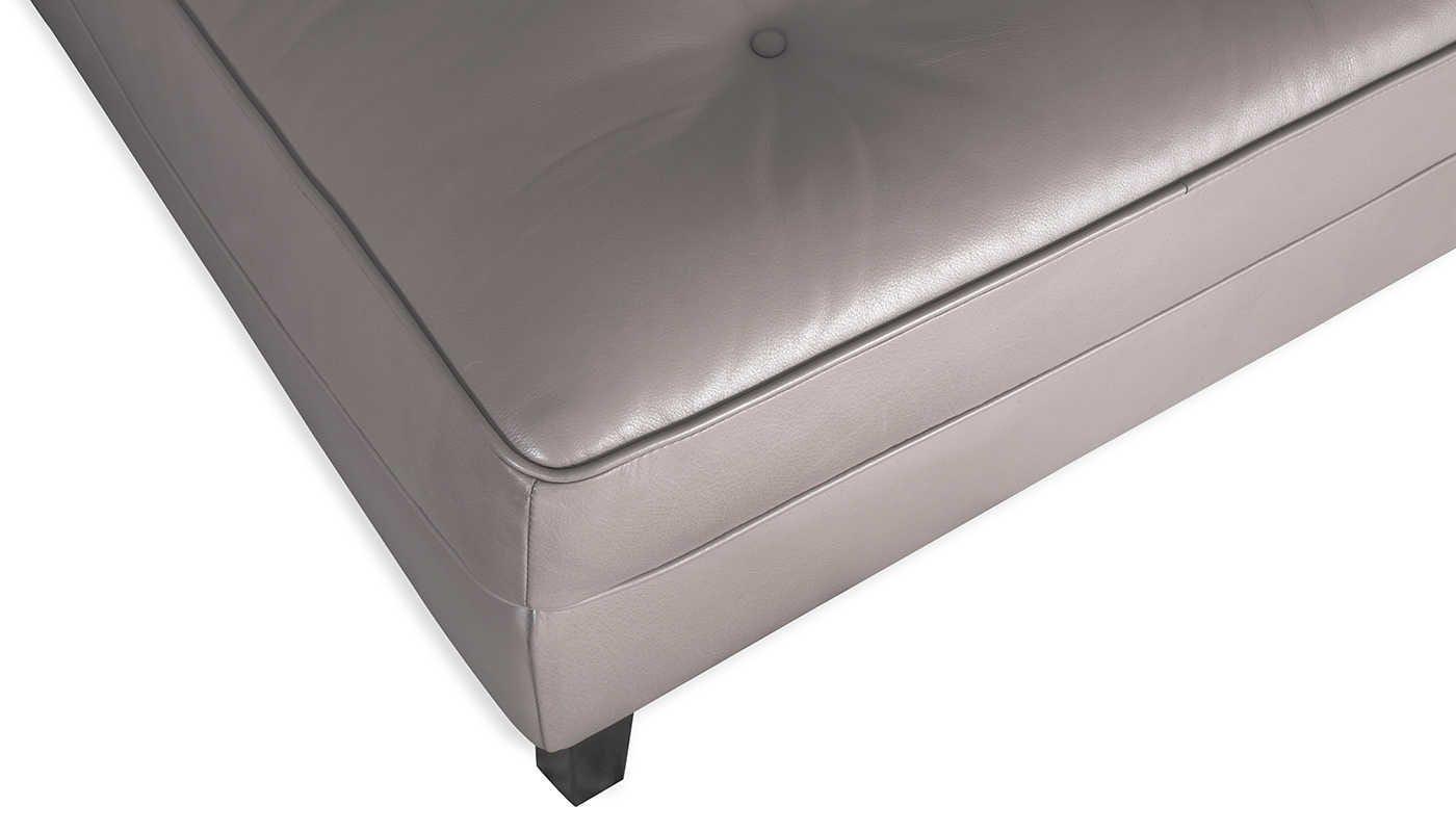 Hepburn Left Hand Facing Corner Sofa in Soft Leather Suede Grey with Wenge Black Feet - Upholstery detailing