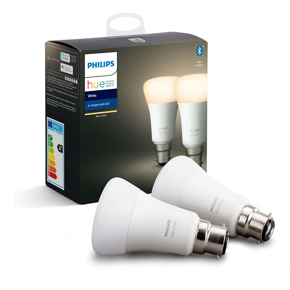 Hue Smart Bulb White 9W A60 B22 LED Set of 2
